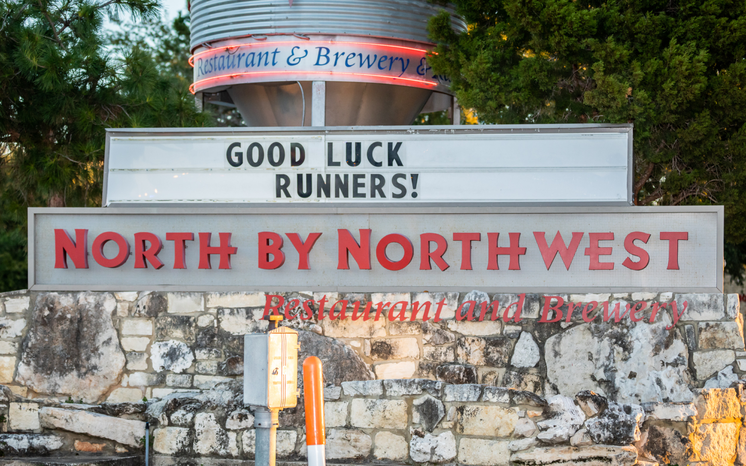 North by Northwest sign greets runners during the 2019 3M Half Marathon. Check out the various locations in this blog post along the 3M Half Marathon course and get to know Austin.