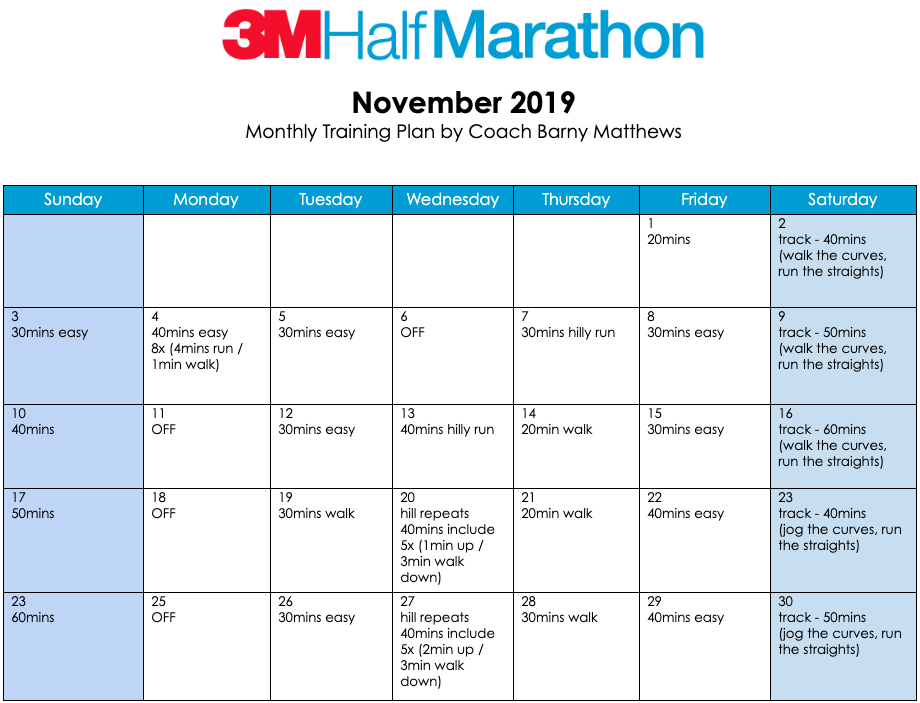 3M Half Marathon training plan for the month of November.
