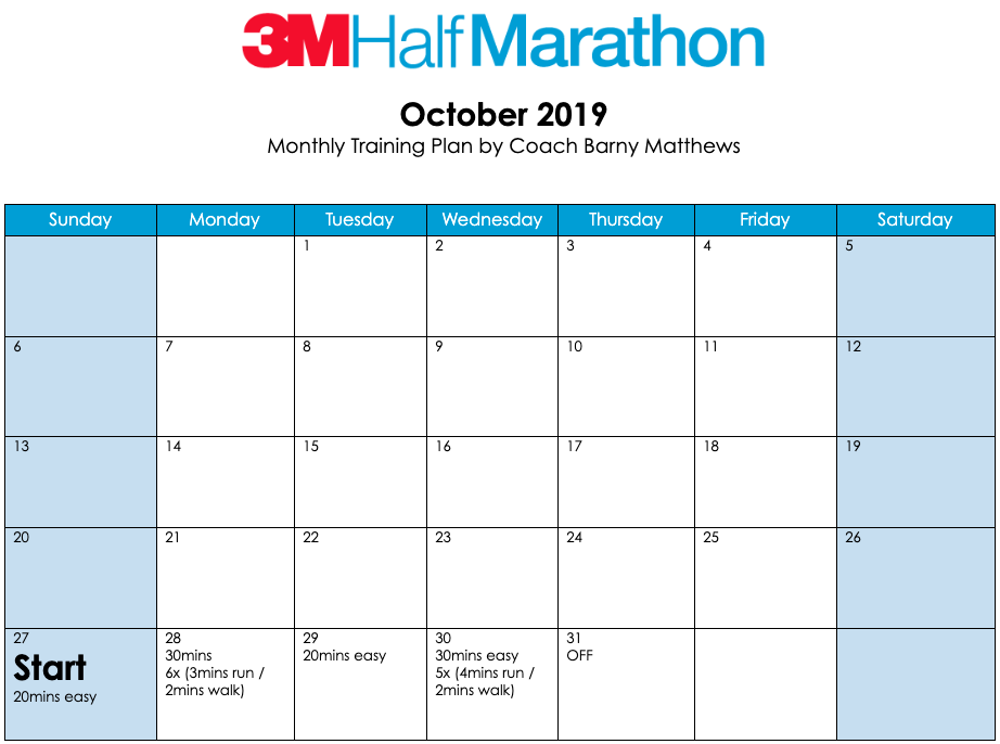 3M Half Marathon training plan for the month of October.