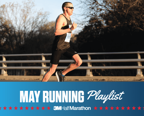 Image of runner competing during the 2019 3M Half Marathon. Below the image is text reading May Running Playlist introducing the 3M Half Marathon's newest monthly playlist.