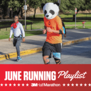Image of runner competing during the 2020 3M Half Marathon. Below the image is text reading June Running Playlist introducing the 3M Half Marathon's newest monthly playlist.