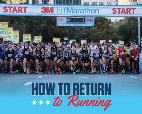 Image of the 2020 3M Half Marathon start line as runners take off. The image contains text that reads How to Return to Running.