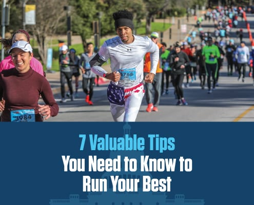 Image of runner during the 2020 3M Half Marathon. Text reads 7 valuable tips you need to know to run your best and is part of blog breaking down those 7 tips.