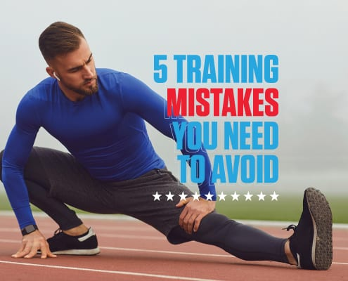 Image of male runner stretching on a track before a workout. Text to his right reads 5 Simple Training Mistakes You Need to Avoid.