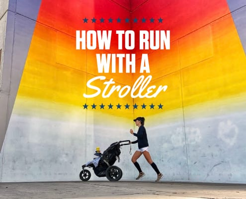 Image of a runner pushing a stroller in front of the Tau Ceti mural in Austin, Texas. The text in the design reads How to Run with a Stroller and leads to a blog with helpful advice.