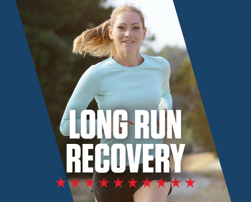 Female runner running towards the camera. Text in design reads Long Run Recovery. Blog posts highlights a long run recovery timeline. Learn more at https://downhilltodowntown.com/long-run-recovery-timeline/