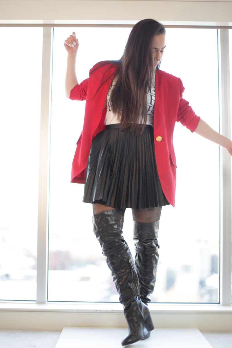 thrifted-red-blazer-leather-pleated-skirt