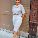 kasa shoes, gray 2 piece skirt and cropped top