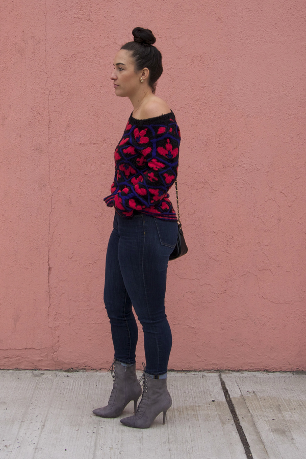 pink wall, queen of hearts off the shoulder sweater, ootd