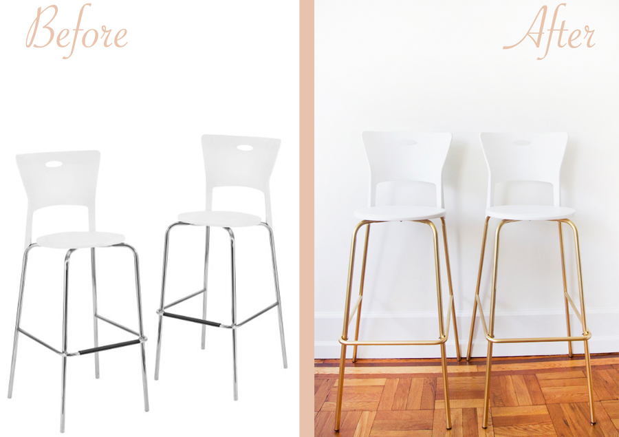 before-after-gold-silver-diy-bar-stool-project