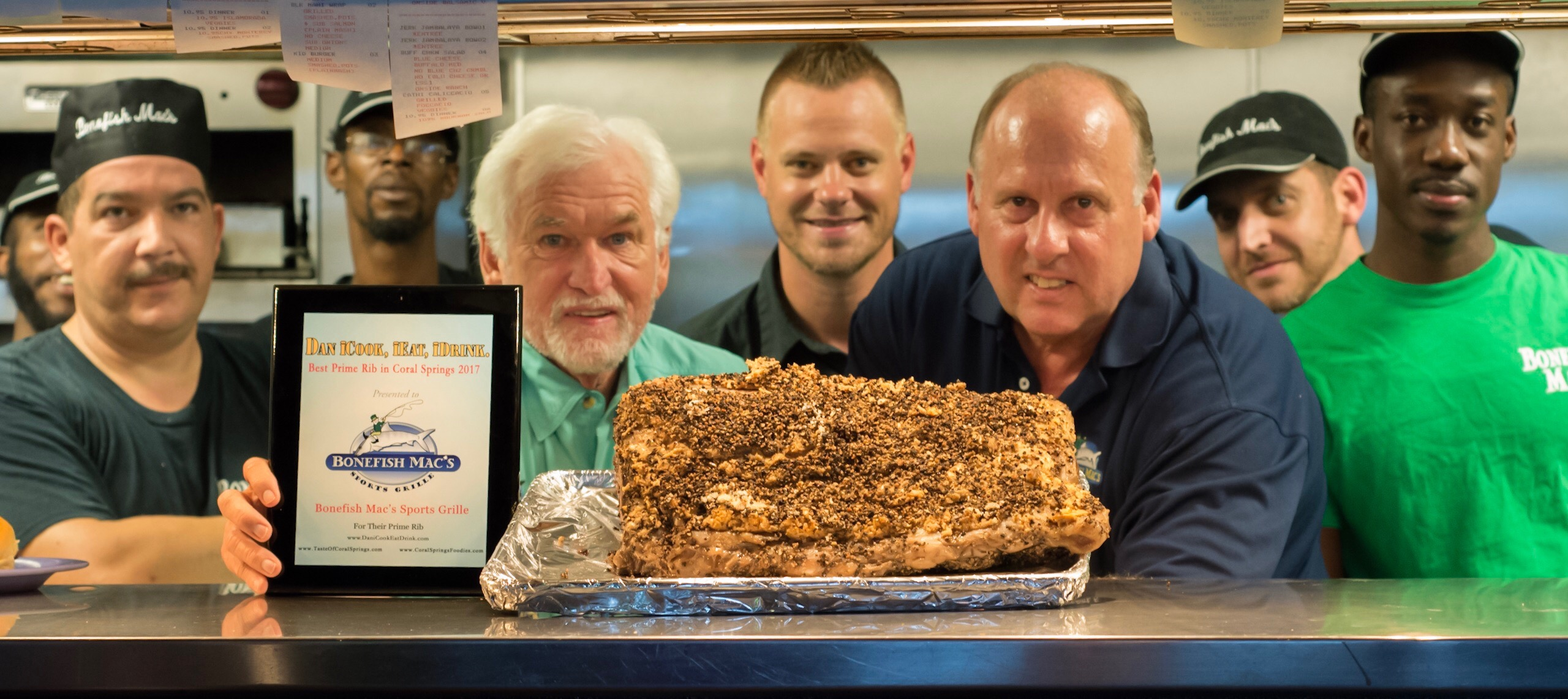 The winning Prime Rib in all its glory! Left to right: Q, Julio, Dawud, owner Chuck, PJ, Bill, James and Carl