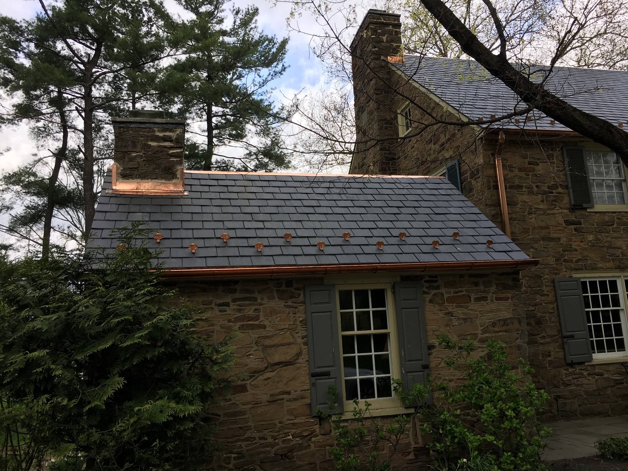 Slate Roof with Copper Gutters