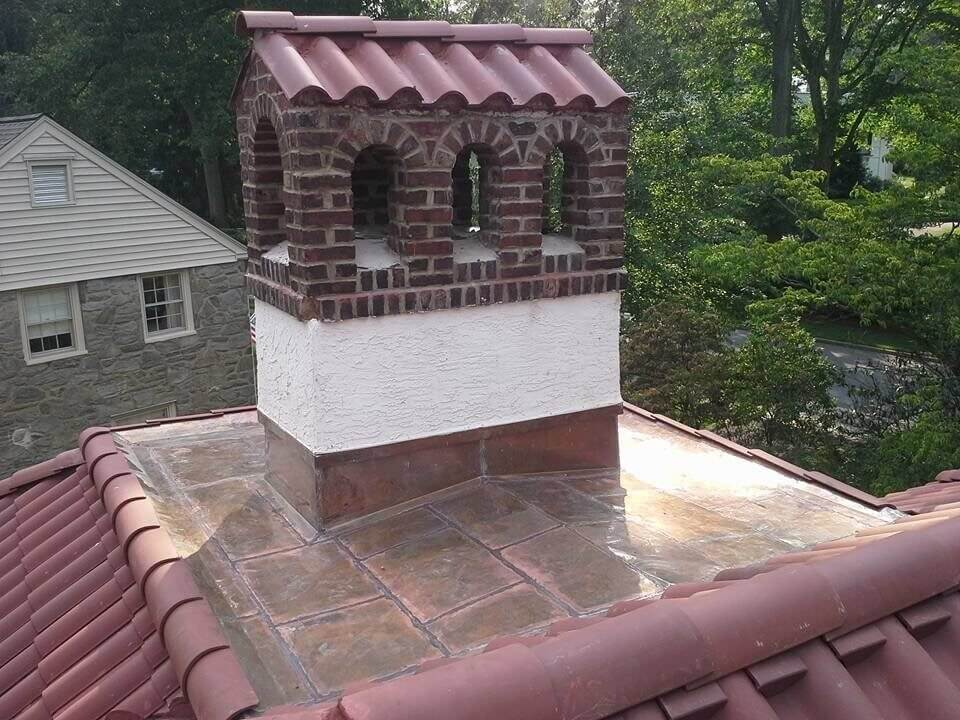 Tile Roof with Tile Chimney