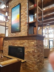 Photo of custom millwork of a fireplace at Courtyard by Marriott in Sedona, AZ