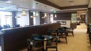 South Jordan, UT Holiday Inn - Sawn Red Oak Partition, Bench Seating & Fireplace