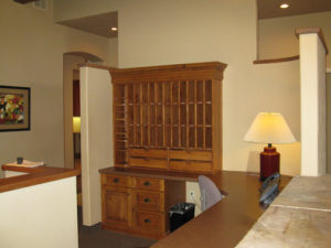 Photo of custom commercial cabinets for an office building