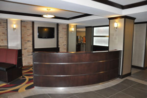 Photo of curved lobby seating custom built for a hotel in Grand Junction
