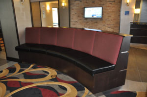 Custom commercial millwork for lobby seating at a hotel in Grand Junction