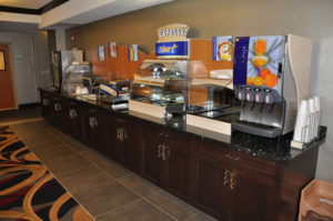 Custom commercial millwork for a breakfast bar at a hotel in Grand Junction