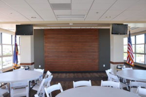 Photo of custom architectural wall in a hospitality suite