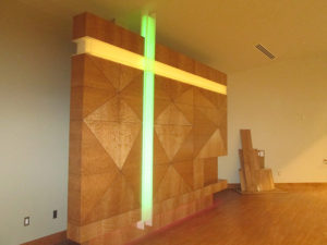 Sacristy Wall custom commercial millwork at First Presbyterian Church, Grand Junction