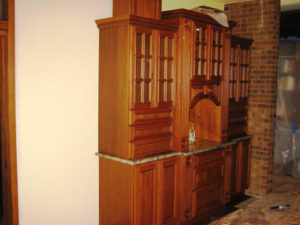 Lyptus wood kitchen hutch on a remodel in Grand Junction