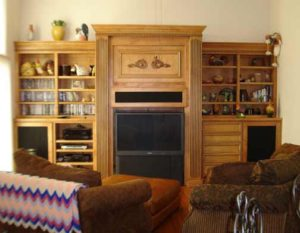 Photo of maple wood entertainment center