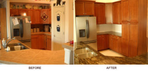 Before and after photos of a kitchen on a remodel in Grand Junction