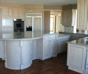 Painted and glazed alder wood kitchen and cabinets custom made for a home in Denver