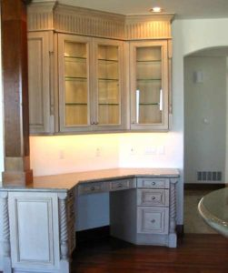 Painted and glazed alder wood china cabinet and desk custom made for a home in Denver