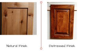 Natural vs Distressed cabinet door Finishes