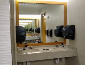 Corian quartz & mirror trim from Osburn Cabinets