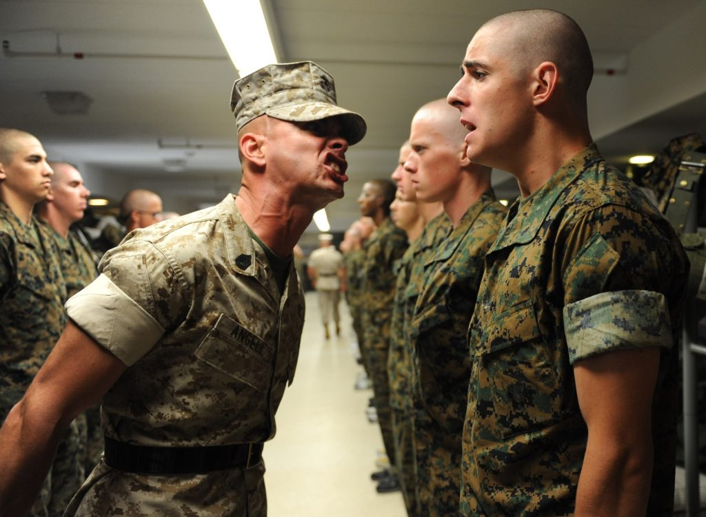 A Marine Drill Instructor Shouting At A Recruit