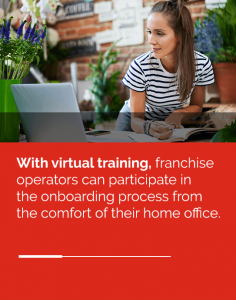 Virtual Training Ad of woman taking notes while looking at laptop