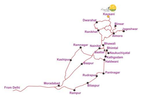 Delhi to kausani map