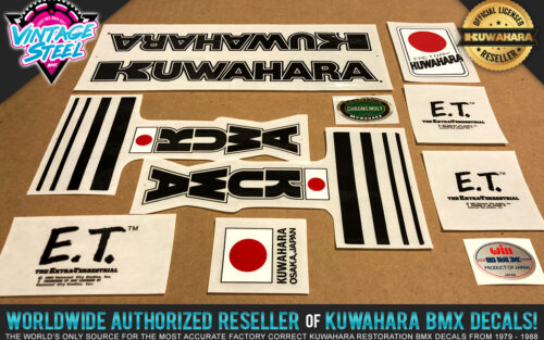 Factory Correct 1982 Kuwahara E.T. Custom Black BMX Decal Stickers