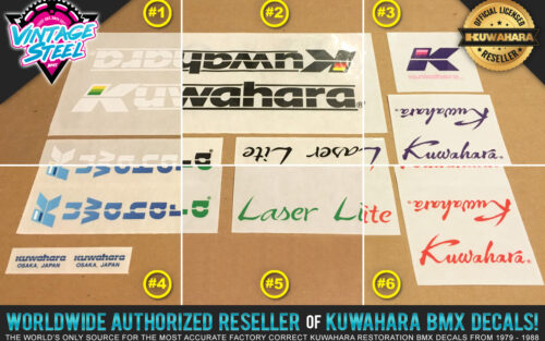 Factory Correct 1985-1986 Kuwahara Laser-Lite BMX Decal Stickers