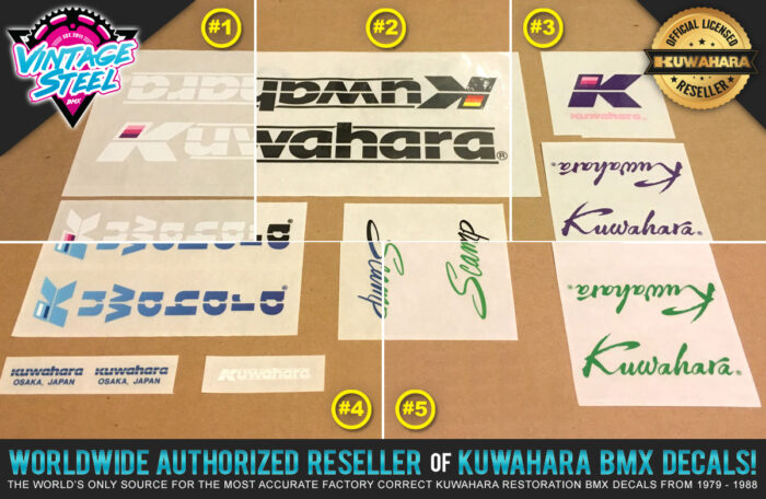 Factory Correct 1985-1986 Kuwahara Scamp BMX Decal Stickers
