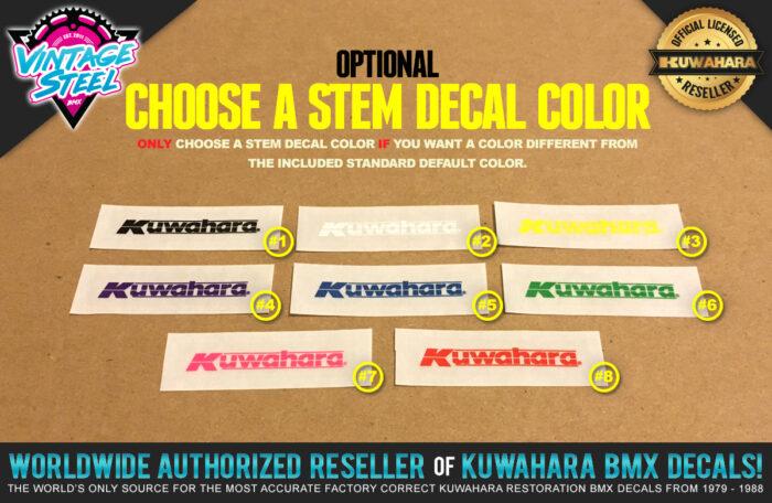 Factory Correct Kuwahara Stem BMX Decal Stickers