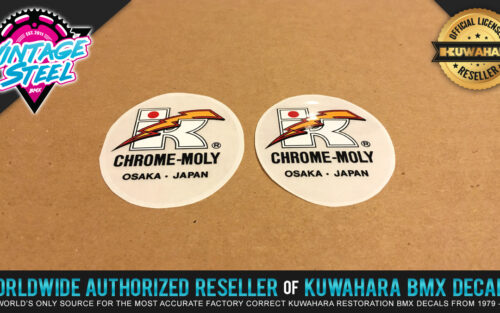 Factory Correct Kuwahara Chrome-Moly Handlebar & Seat Post BMX Decal Stickers