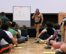 Cody Lundin explains the dangers of hyperthermia and hypothermia in his lecture about survival Tuesday night in the Smith Student Center Ballroom. He is the co-host of the Discovery Channel show Dual Survival and he has authored of two books.