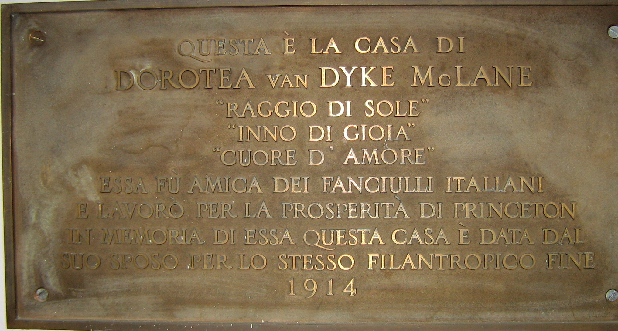 Memorial plaque in Dorothea's House in Italian