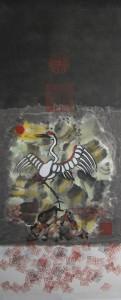 "Mandarin Square (crane) - Ink & Colour on Rice Paper  34.25""x14"""