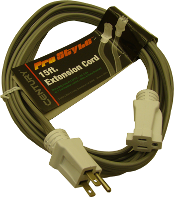 Display Innovations SPT-2 12/3 with ground 15' low profile flat extension cord