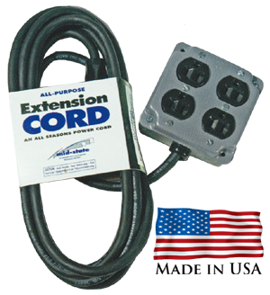 J3 extension cord with 4-way quad box receptical