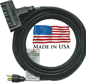 TCR SJ extension cord with triple female plug end