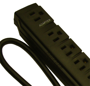 Seven outlet surge strip, 5 + 2 outlets at 90 degrees
