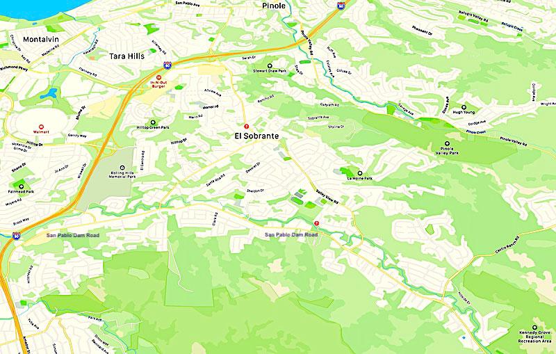 regional map of El Sobrante CA 94803
