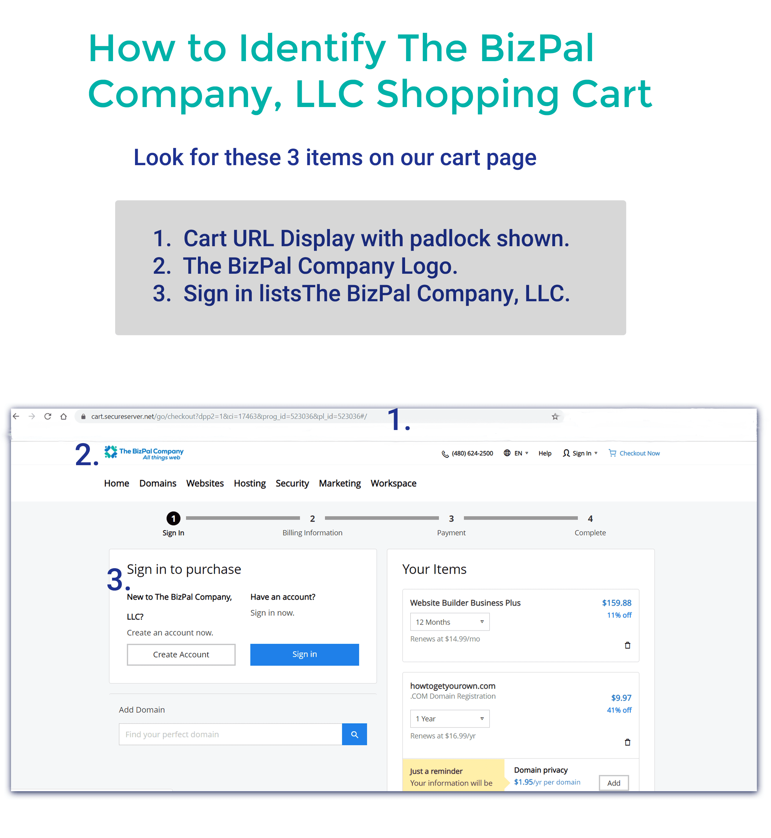 How to RecognizeThe Bizpal Company, LLC's Shopping Cart Page