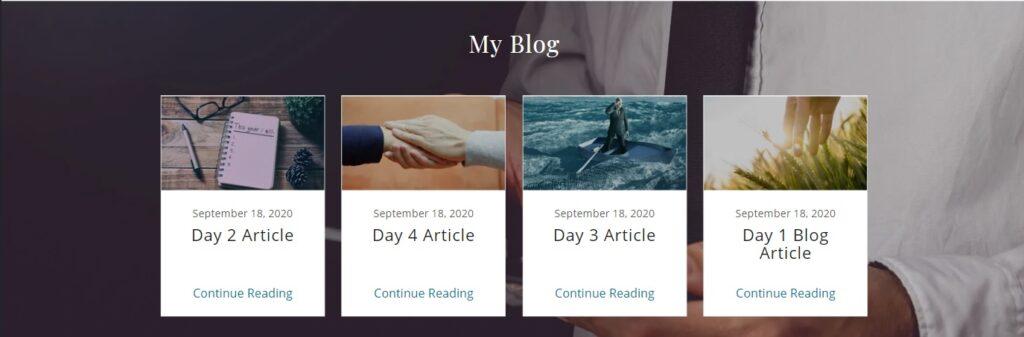 Sample Blog Section for website